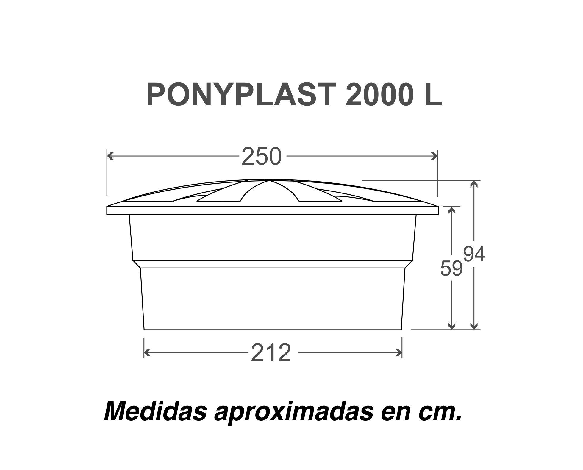 Medidas ponyplast 2000l