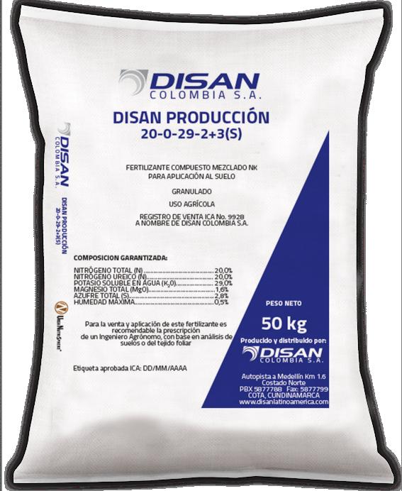 Fertilizante granulado disan produccion 20 0 29 2 3