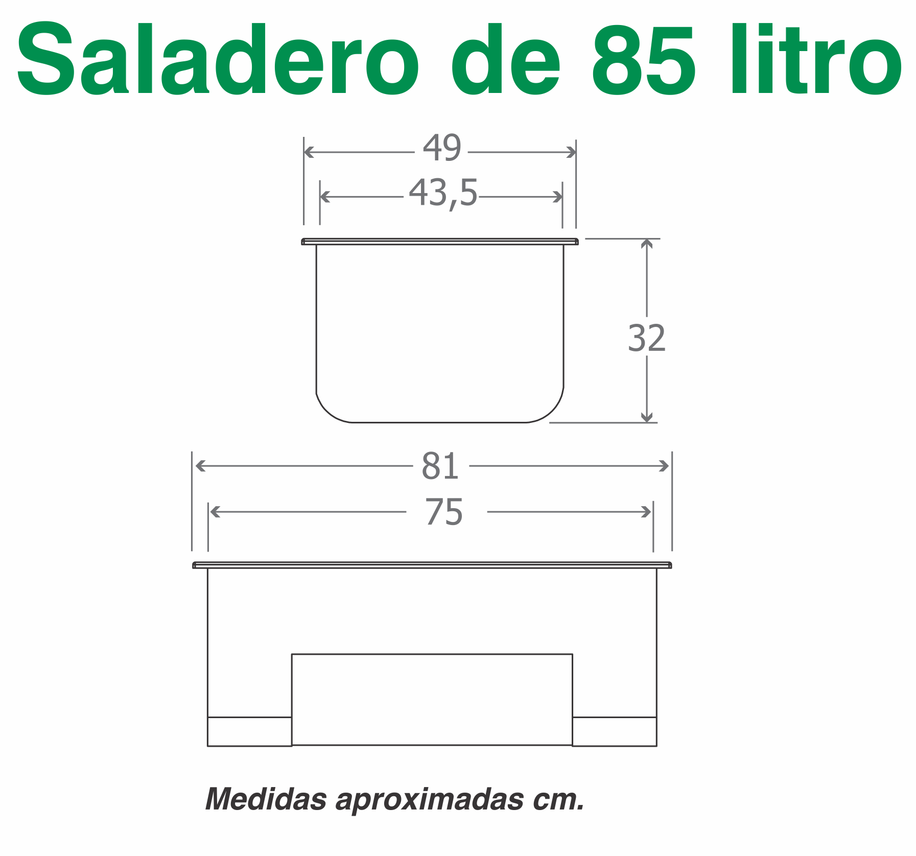 Saladero 85 litros medidas
