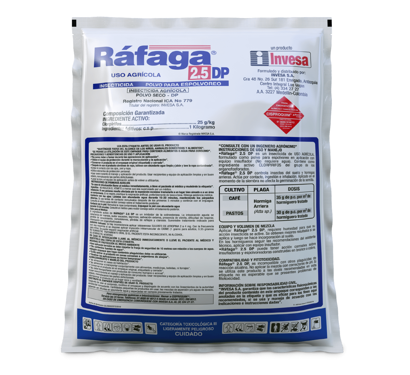 Insecticida rafaga 2.5 invesa 25 kg