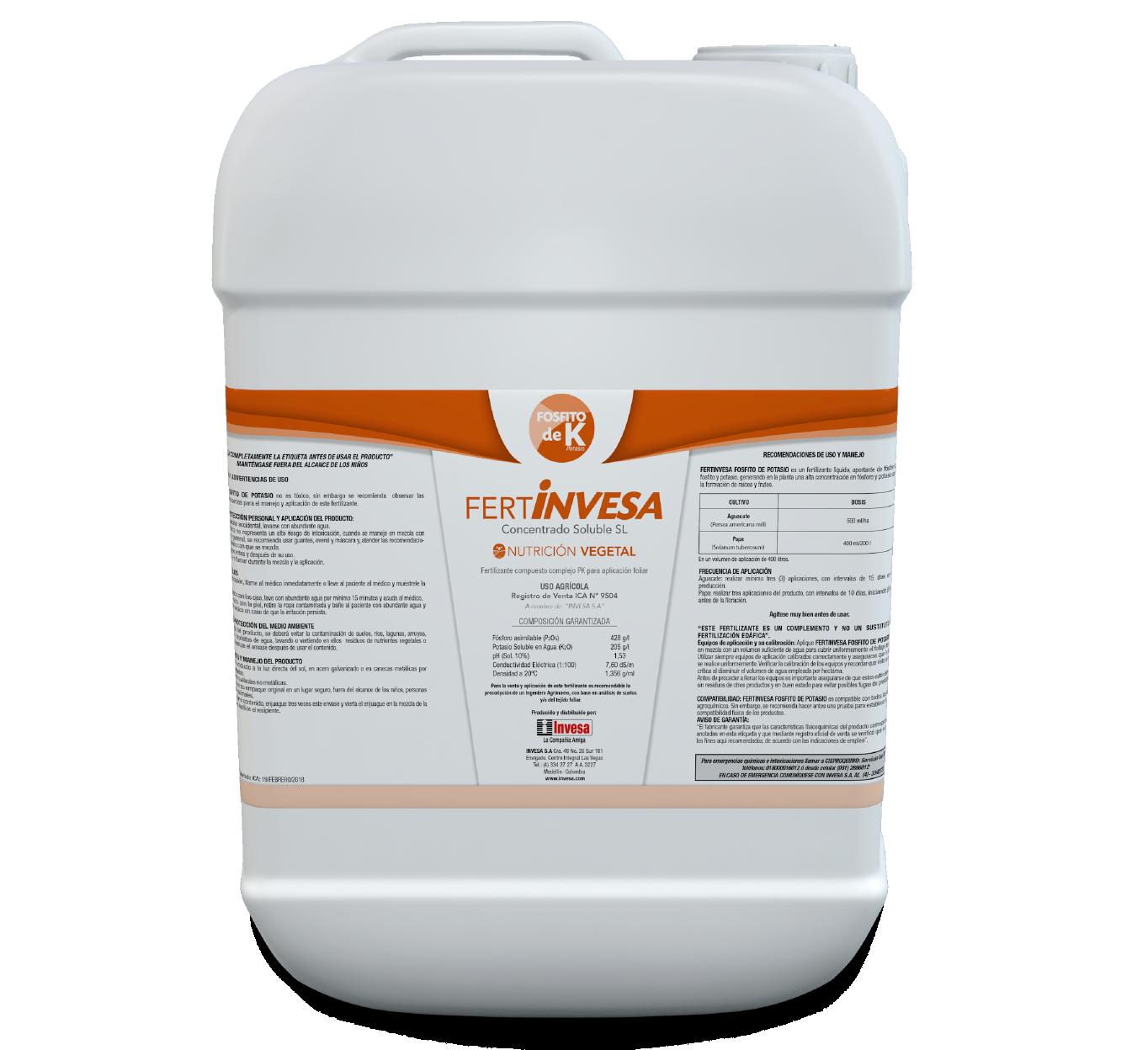 Fertilizante fertinvesa fosfito de potasio invesa 20 litros