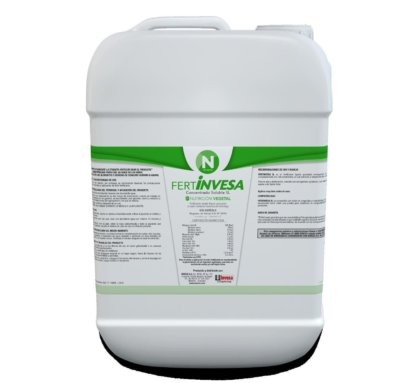 Fertilizante fertinvesa n invesa 20 litros