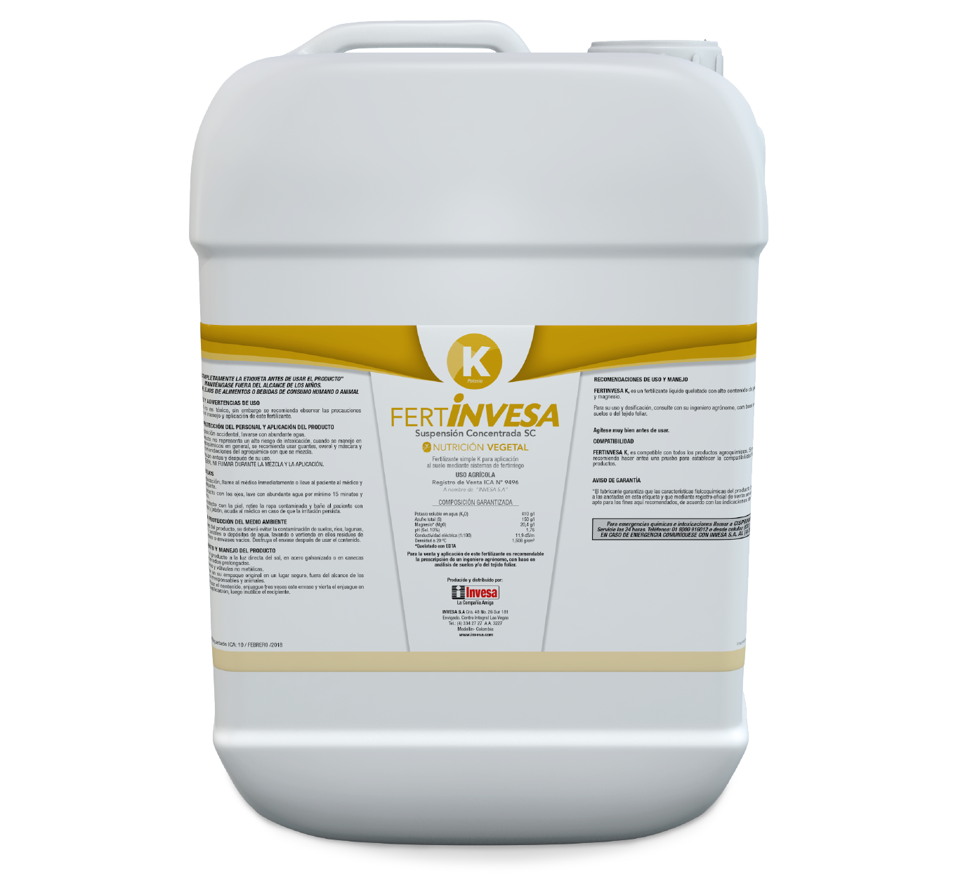 Fertilizante fertinvesa k invesa 20 litros