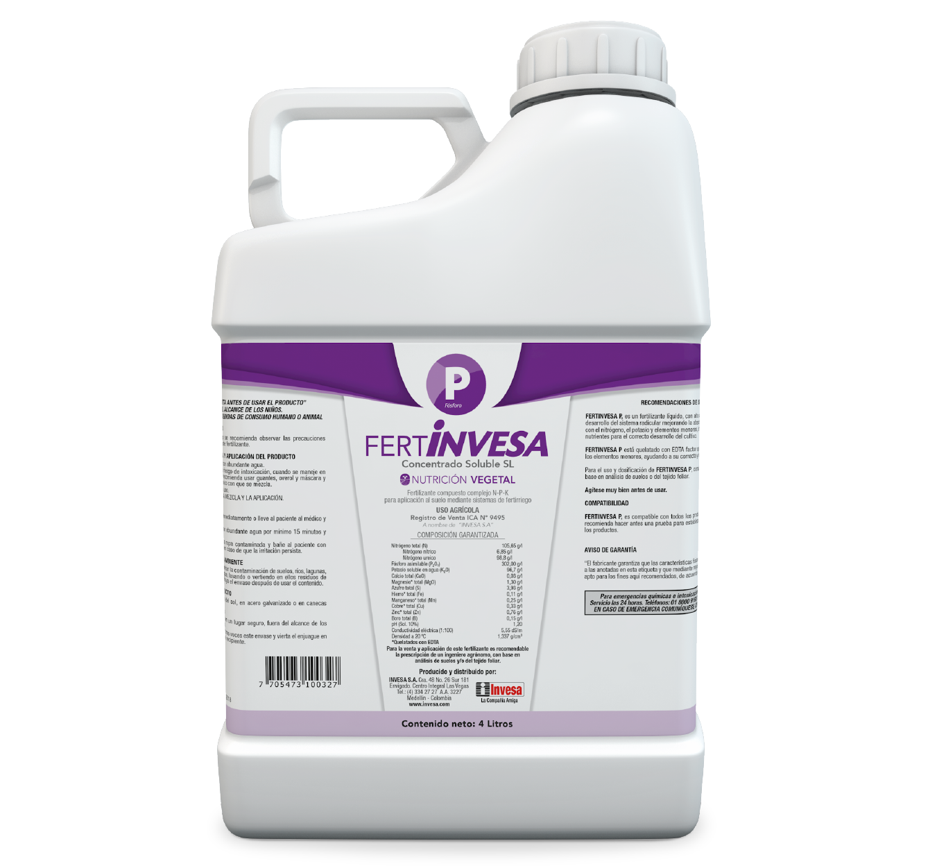 Fertilizante fertinvesa p invesa 4 litros