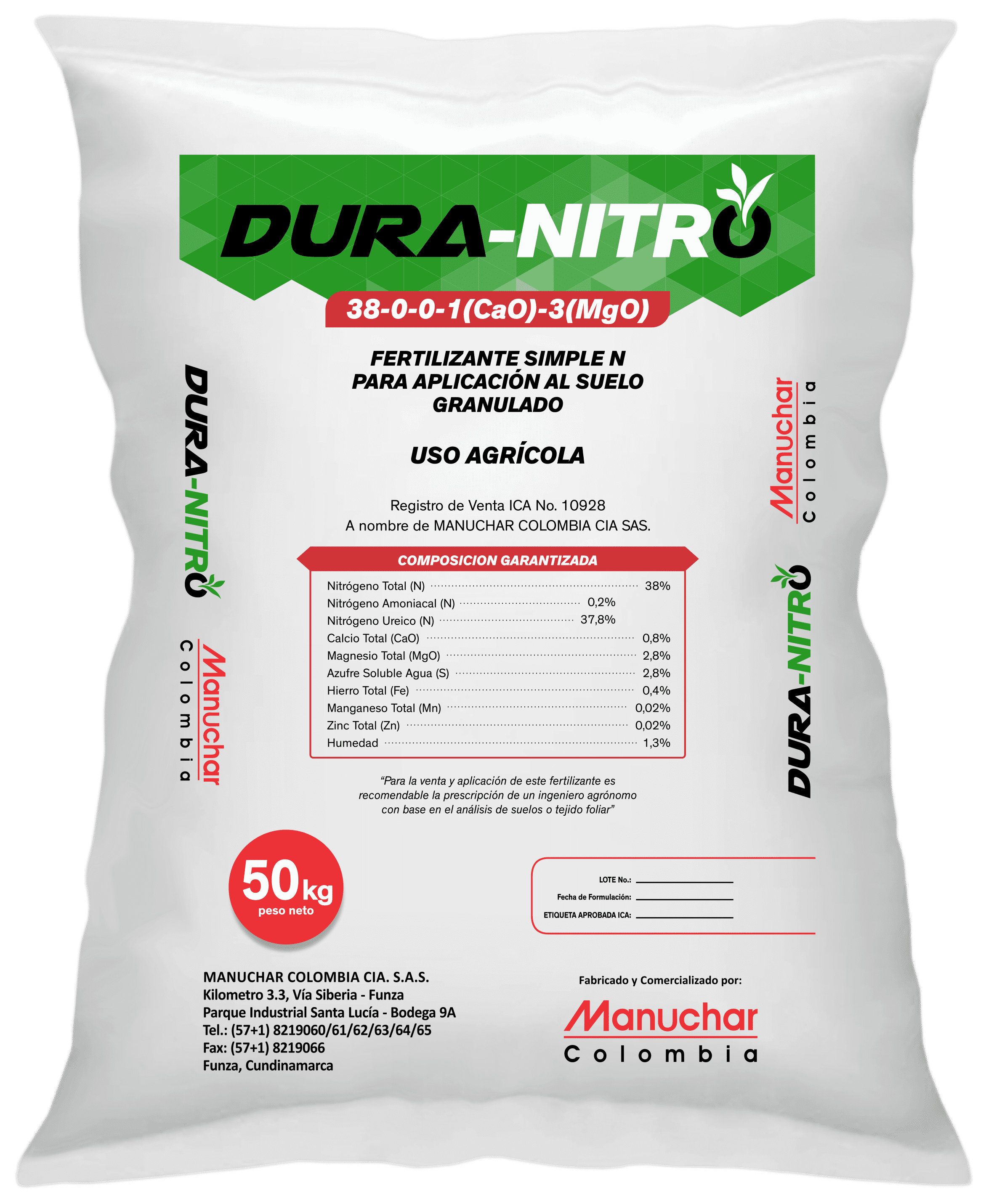 Fertilizante duranitro duramon manuchar 50 kg