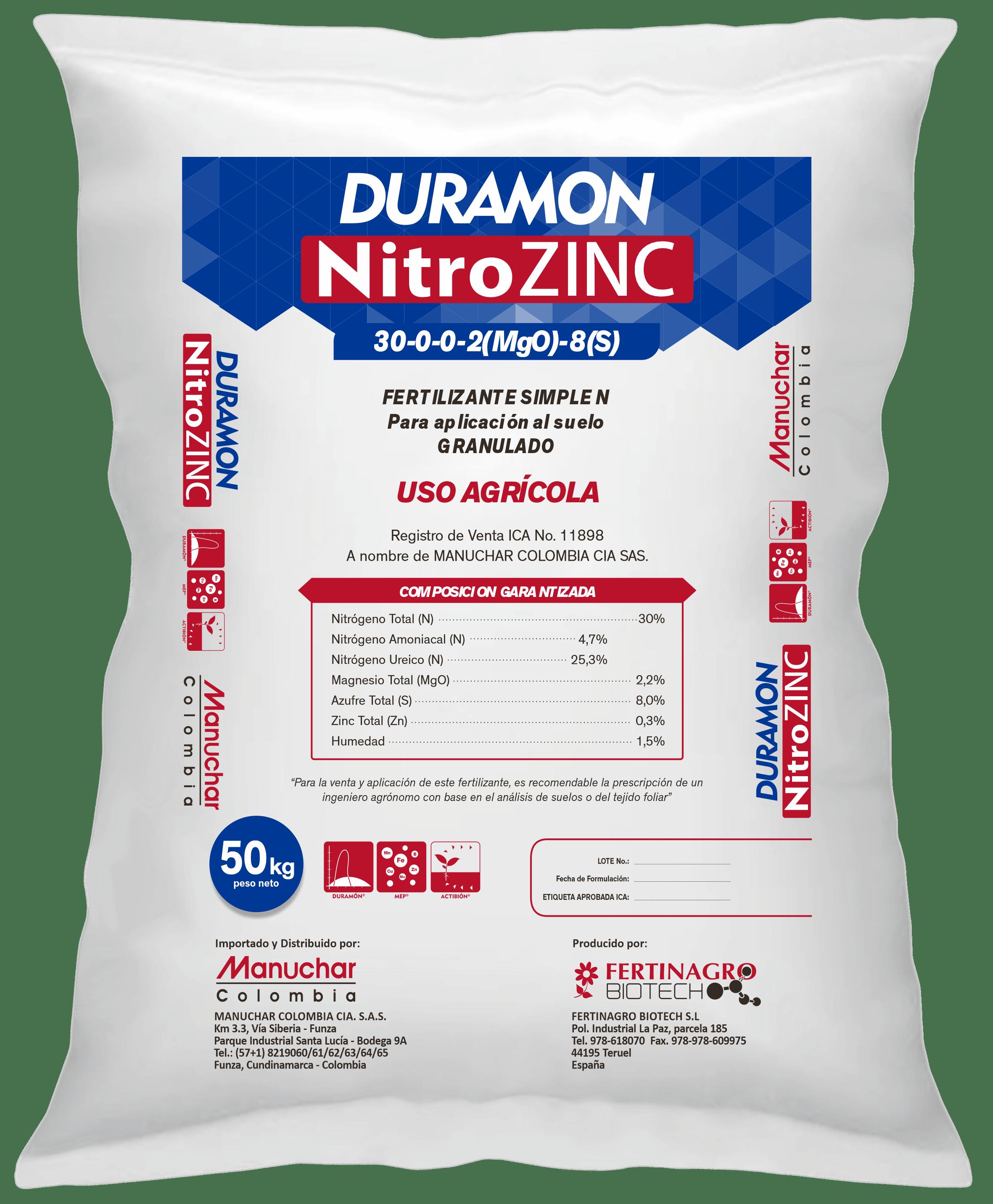 Fertilizante simple duramon nitrozinc